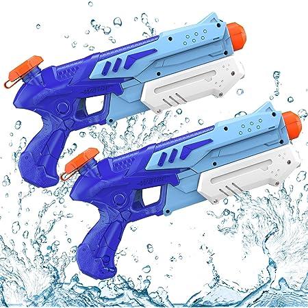 Kiztoys&1 Pistola ad Acqua per Bambini, Potente Pistola ad Acqua con Capacità 300ML 10 Metri a Lungo Raggio per Sport Acquatici Combattimenti All'aperto Giardino Spiaggia Bambino Adulti (2 pezzi)