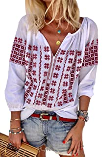 CILKOO Women's Fashion 2019 Bohemian Embroidered Tops Long Sleeve V Neck Tee Shirts Loose Blouse Red US4-6 Small