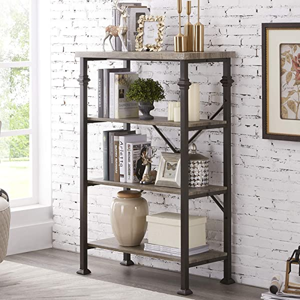 Hombazaar 4 Tier Industrial Bookcases Vintage Open Etagere Bookshelf Multi Functional Shelf Units For Collection Grey Oak