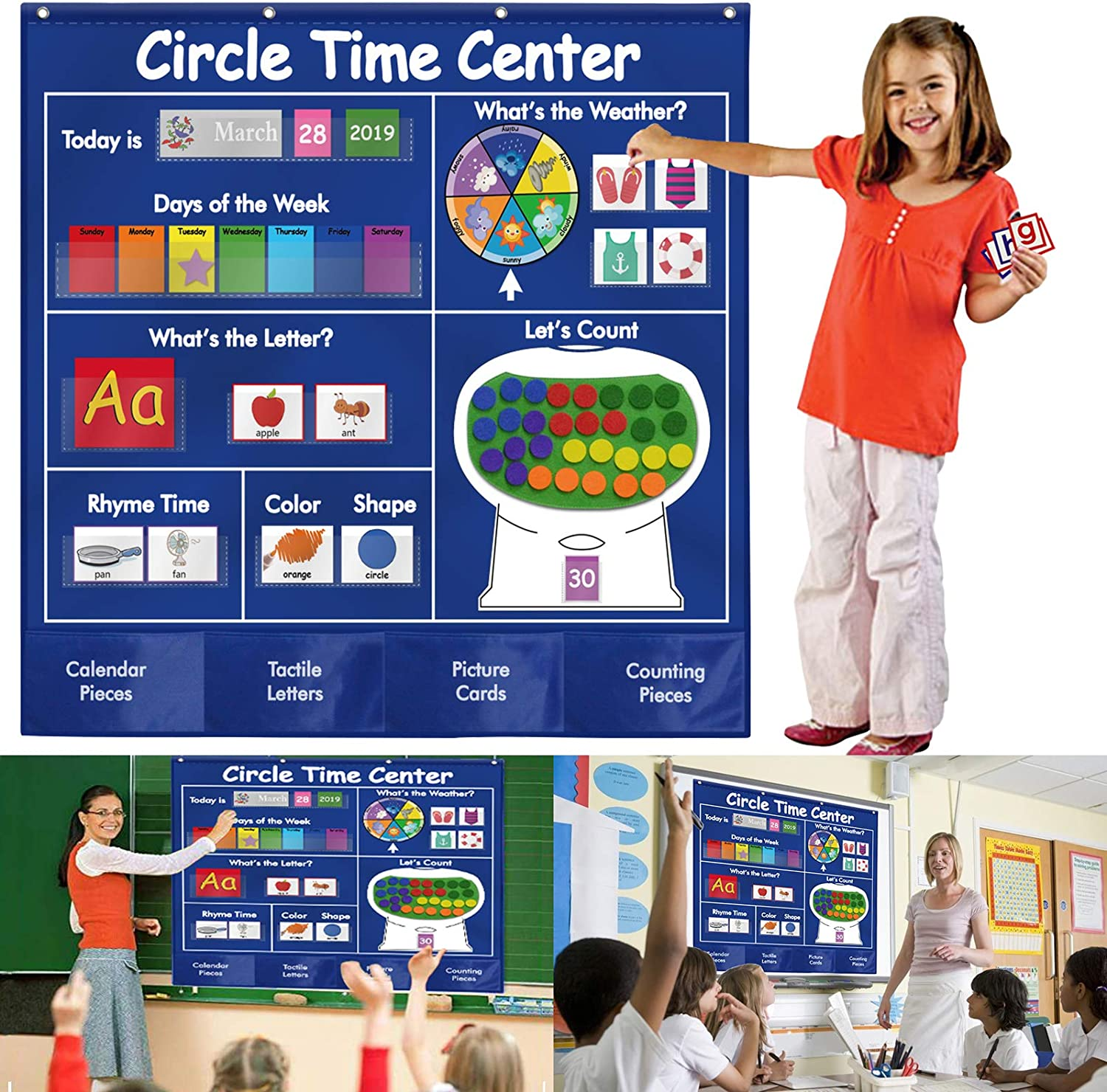 KIKIGOAL Circle Time Center Classroom Pocket Chart Educational Pocket Chart Teaching Materials Learning Calendar Weather Counting Letter Color Shape etc