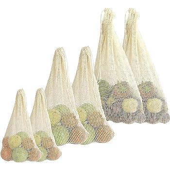 Bolsas vegetales de algodón orgánico - Juego de 6 | Bolsas de supermercado reutilizables | Bolsas de producción ecológica | De malla de algodón con cordón | 3 tamaños | M&W: Amazon.es: Ropa y accesorios
