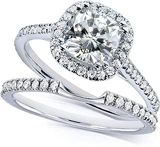 Kobelli 14k White Gold 1 1/2ct TCW Near Colorless (H-I) Moissanite Halo Bridal Rings Set