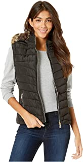 Polyfill Puffer Vest with Faux Fur Trim Hood Black MD