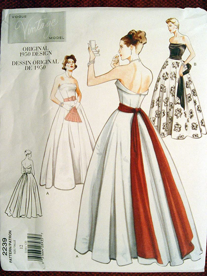 Vogue Vintage Model Pattern 2239 Misses' Dress, Belt & Sash, Size 10 (Bust 32 1/2)