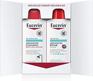 Eucerin Advanced Repair Regimen Pack - Advanced Repair Body Lotion & Advanced Cleansing Face and Body Wash - 16.9 oz Bottles (2 Pack)