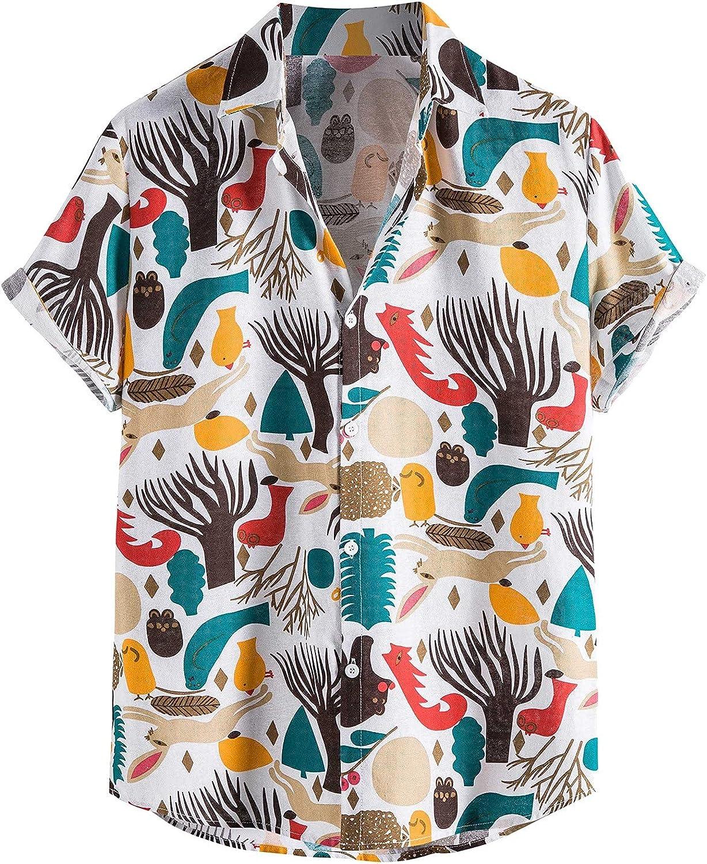 Mens Cotton Linen Hawaiian Shirt Print Casual Short Sleeve Button Down Holiday Beach Henley Shirt