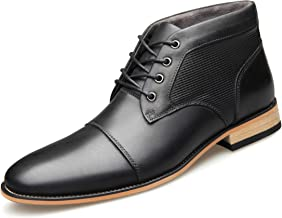 U-lite Mens Cap Toe Thick Warm Leather Lace Up Oxfords Ankle Boots with Side Zipper