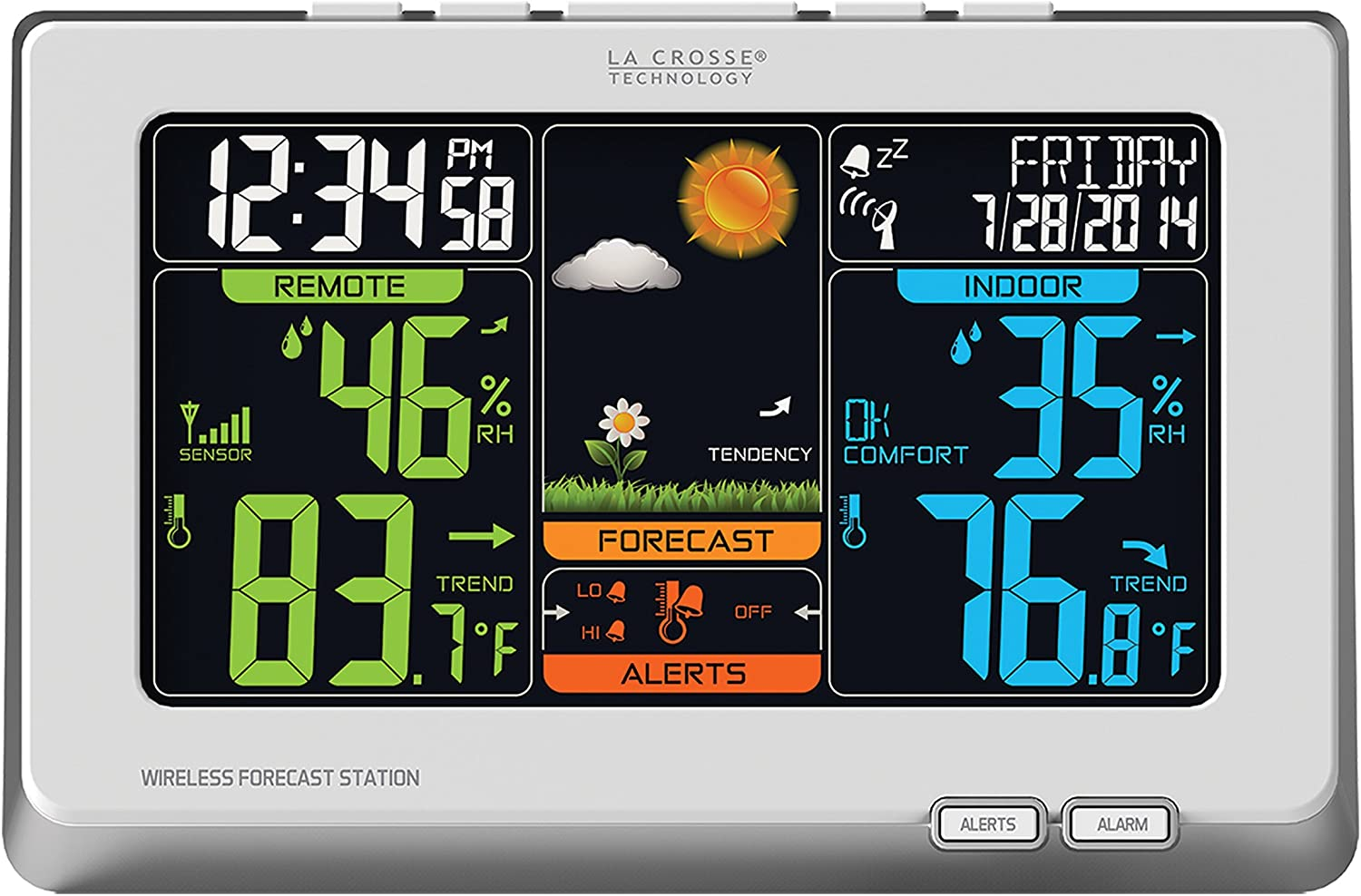 Amazon Com La Crosse Technology C83332 Wireless Atomic Digital Color Weather Forecast Station With Alerts 8 34l X 1 03w X 5 48h Inches White Home Kitchen