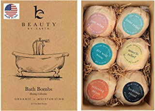 Bath Bombs Gift Set - 6 Large with Organic Shea Butter, Made in USA, Best Christmas & Birthday Gifts for Women, Bath Bomb ...