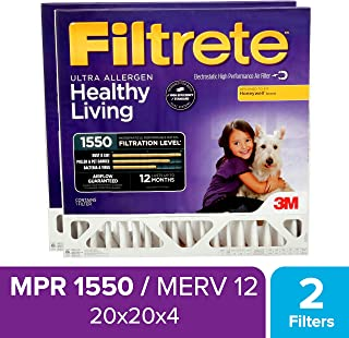 Filtrete 20x20x4, AC Furnace Air Filter, MPR 1550 DP, Healthy Living Ultra Allergen Deep Pleat, 2-Pack