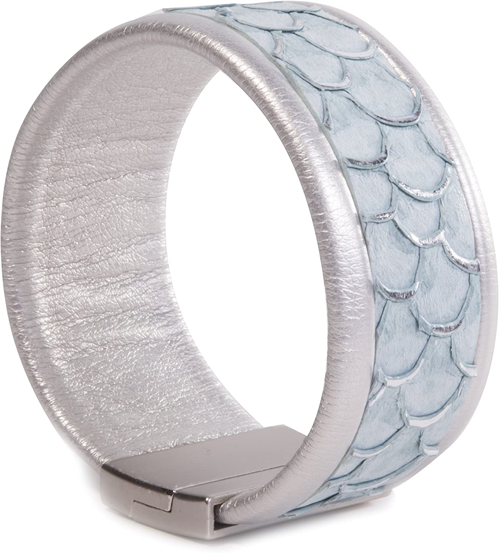 Amanda Blu Leather Cuff Bracelet - Thin Light Blue Scale