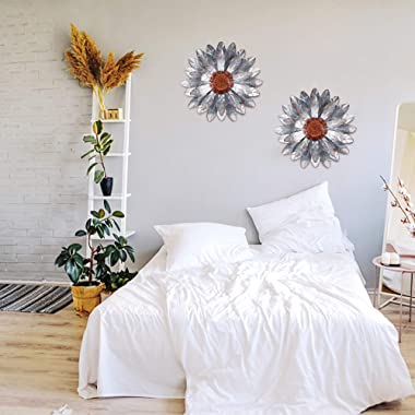 "Ridota 12"" Metal Flower Wall Decor, Metal Hanging Wall Art Sculpture, Metal Daisy Wall Decor for Indoor Outdoor Home Bedr"