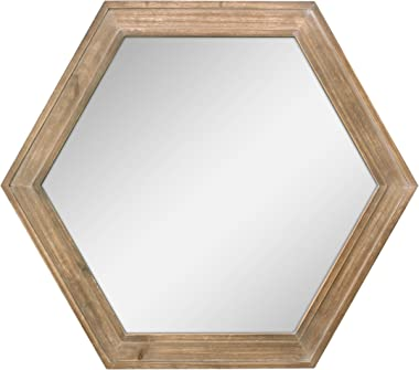"Stonebriar Decorative 24"" Hexagon Hanging Wall Mirror with Natural Wood Frame and Attached Hanging Bracket, Rustic Farmhouse"