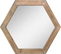 "Stonebriar Decorative 24"" Hexagon Hanging Wall Mirror with Natural Wood Frame and.."