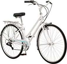 Schwinn Wayfarer Hybrid Bicycle, Featuring Retro-Styled 16-Inch/Small Steel Step-Through Frame and 7-Speed Drivetrain with Front and Rear Fenders, Rear Rack, and 700C Wheels, White