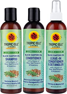 Tropic Isle Living Jamaican Black Castor Oil Shampoo+Conditioner+Leave-In Detangler
