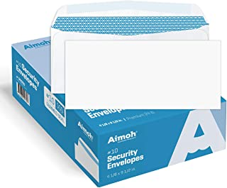 500#10 Security White Envelopes - GUMMED Seal, Windowless Design, Premium Security Tint Pattern for Secure Mailing - Size ...