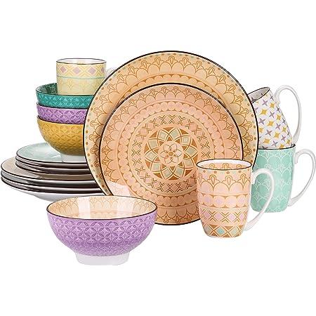vancasso, série Tulip, Assiette Colorée, 16 Pièces, Service de Table Porclaine Style Marocain, Assiette Plate, Bols pour 4 Personnes