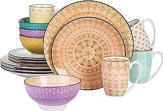 vancasso, série Tulip, Assiette Colorée, 16 Pièces, Service de Table Porclaine Style Marocain, Assiette Plate, Bols pour 4...