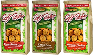 K9 Granola Factory 3 Flavor Soft Bakes Dog Treat Variety Pack, 12 Ounces Each of Peanut Butter Cup & Carrot Cake & Wisconsin Cheddar