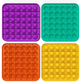 4 Pack Push Pop Bubble Sensory Fidget Toy Autism Special Needs Stress Reliever Toys Silicone Squeeze Sensory Toy for Kids Adults (4Pcs Square)
