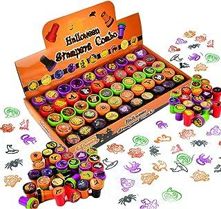 JOYIN Zestaw 50 pieczątek na Halloween, zestaw stempli samotuszających dla dzieci (25 wzorów, plastik, słodkie lub kwaśne,...
