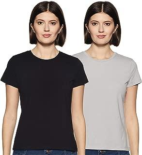 Amazon Brand - Symbol Women's Plain Regular Fit T-Shirt (Pack of 2)