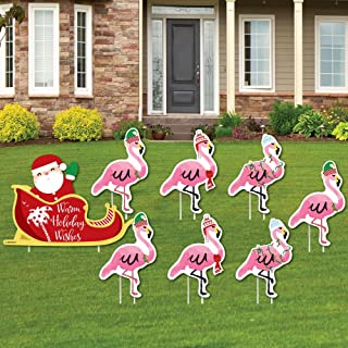 outdoor christmas flamingos