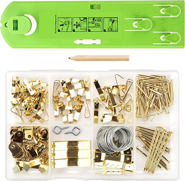Picture Hanging Kit Picture Frame Hanger Tool 222 Pieces Heavy Duty Photo Hanger Accessories With Picture Hanging Wire Hooks Nails And Hanger Level