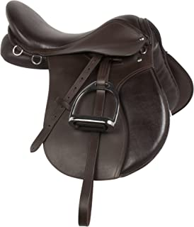 AceRugs Premium Brown Leather English All Purpose Close Contact Jumping Horse Saddle TACK Starter Package Set 15 16 17 18