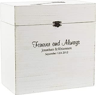 Lillian Rose Personalized Engraved White Wood Wedding Card Box with Key Slot