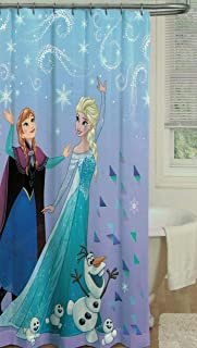 Kids Warehouse Disney Frozen Shower Curtain - Fabric Shower Curtain - Featuring Anna, Elsa and Olaf