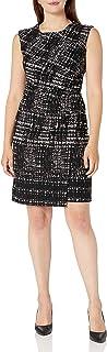 فستان حريمي من Sandra Darren مصنوع من نسيج قطني مضلع طويل الكتف قطعة واحدة