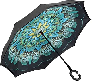 Dopobo Double Layer Inverted Umbrella Cars Reverse Umbrella Extremely Waterproof and Windproof Inverted Umbrella with C-Shaped Handle (P-C)
