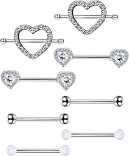 YADOCA 14G Stainless Steel Nipple RingsTongue Ring CZ Barbell Piercing Jewelry Heart Rings for Women