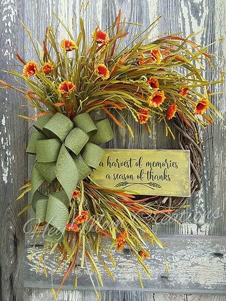 MarthaFox Farmhouse Fall Wreath Fall Wreath Orange Wreath Autumn Wreath Fall Decor Front Door Wreath Door Wreath Grapevine Wreath Wood Signs