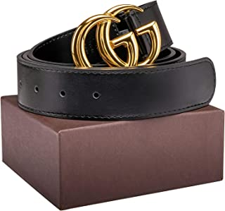 Luxury Gold/Silver Buckle GG Black genuine Leather Unisex Belt for Men or Women Pants