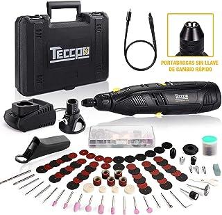 Mini Amoladora Sin Cable, TECCPO 12V Herramienta Rotativa Eléctrica Velocidades Ajustables 5000-28000RPM, Eje Flexible, con 84 Accesorios y 4 accesorios para Corte, Lijado, Pulido, Tallado