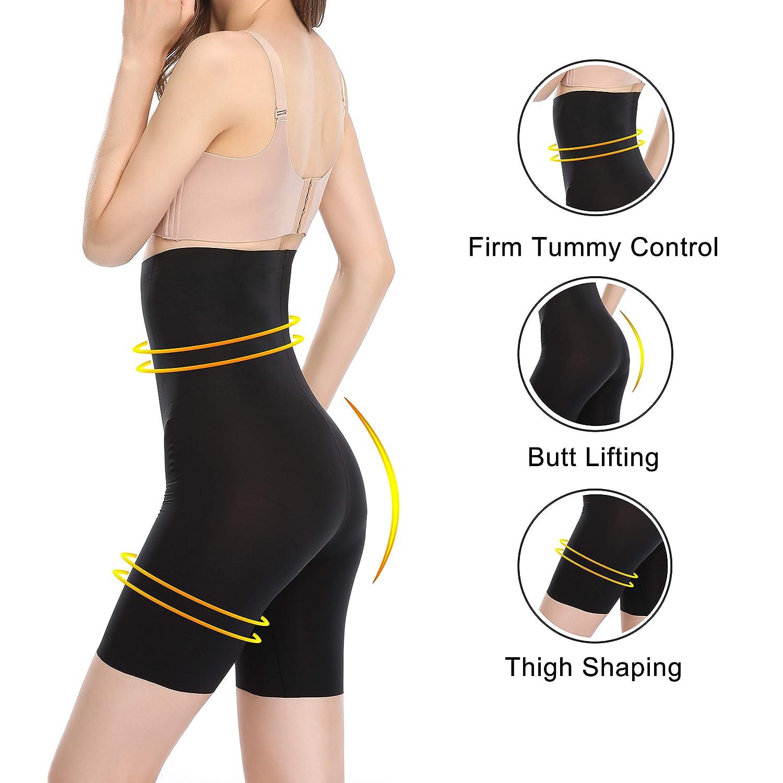 HAZAZEA Women Waist Bodysuit-Elastic Tummy Control Panties-Seamless Body Shaper Shorts-High Waisted Shape wear
