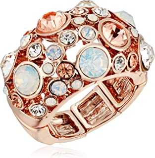 GUESS Basic Rose Gold Domed Multi-Stone Adjustable Ring, Size 7-9