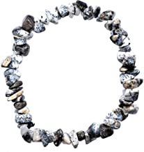 Zenergy Gems Charged Natural Himalayan Dendritic Opal Crystal Chip Bracelet Polished Stretchy [Selenite Charger Included] Inner & Outer Energy Balancer - Negative Energy Protection