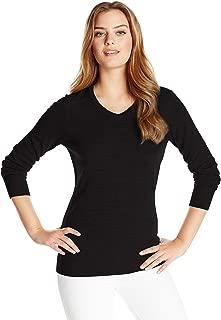 & Buck Women's Soft Merino Blend Douglas Long Sleeve V-Neck Sweater