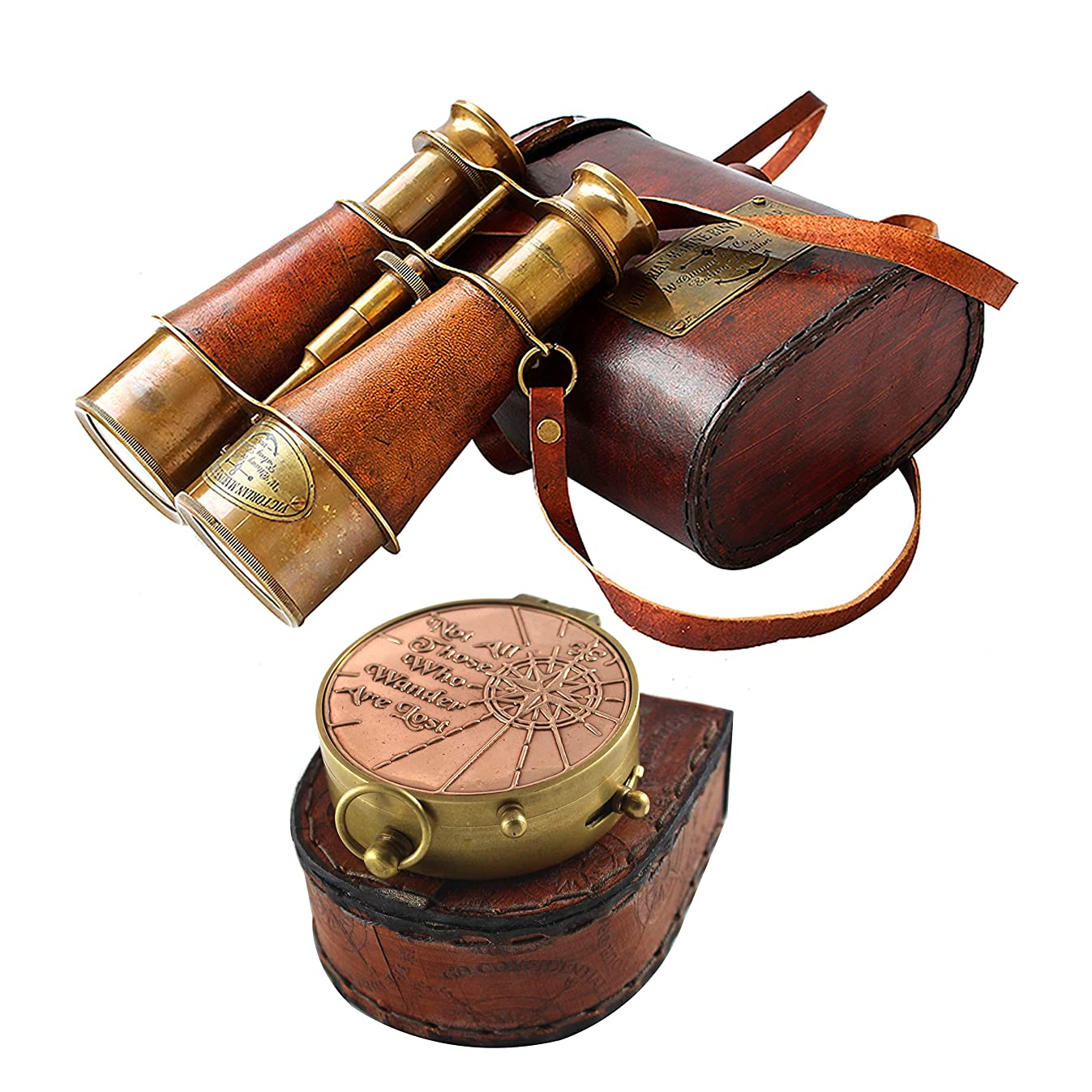 collectiblesBuy Nautical Victorian Marine Binocular Leather Case with Brass Copper Qoute Compass