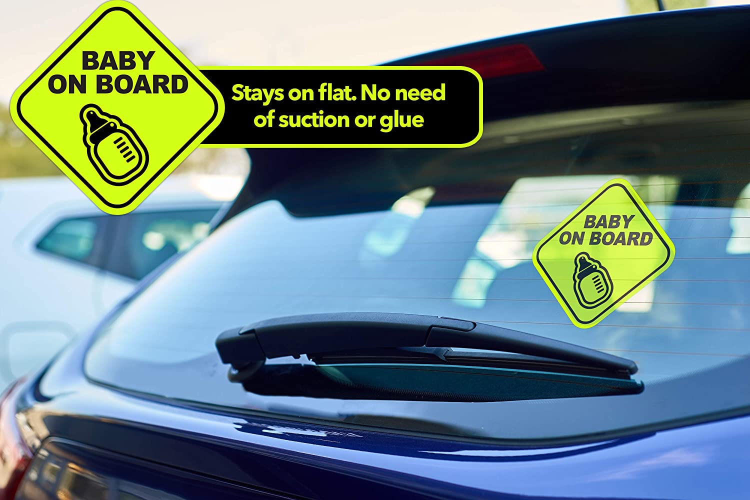 Kickfire 5 Pack Baby on Board - Static Cling Safety - Stickers for Car Accessories - No Glue or Residue | Big Bold Neon Green | Perfect Parent Pack Newborn Essentials Must Have (5 Pack)