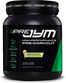 Pre JYM Pre Workout Powder - BCAAs, Creatine HCI, Citrulline Malate, Beta-Alanine, Betaine, and More   JYM Supplement Science   Rainbow Sherbet Flavor, 30 Servings