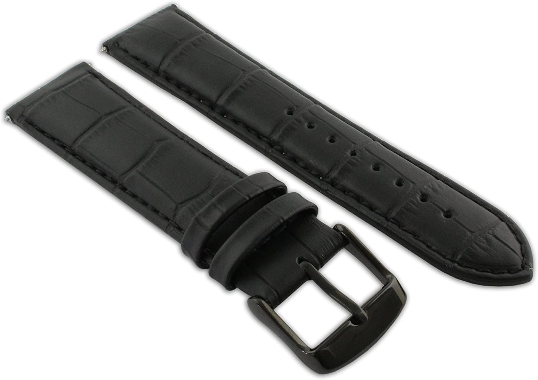 22mm Black Great interest Genuine Ranking TOP10 Leather Mock Croc Band Strap Mens Watch Croco