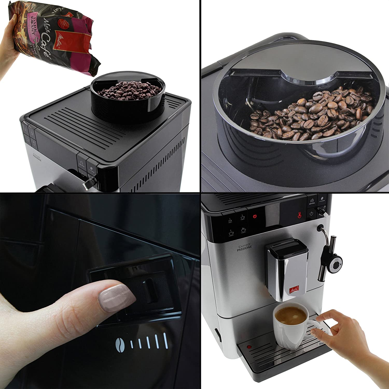 Melitta Caffeo Passione, Argent, F53/0-101, Machine à Café et Boissons Chaudes Automatique, Auto-Cappuccinatore Argent