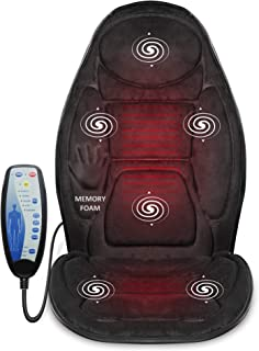 Snailax Memory Foam Massage Seat Cushion – Back Massager with Heat,6 Vibration..