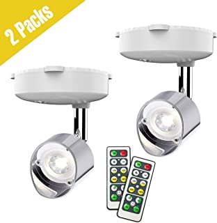 Wireless Spotlight, Battery Operated Accent Lights Art Lights for Paintings Mini Led Picture Light Puck Lights Wall Light with Rotatable Lights Head, 4000k Warm Light, 80 Lumens (Silver)