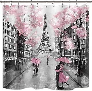 Riyidecor Oil Painting Paris Shower Curtain European City Landscape France Eiffel Tower Modern Couple Black Pink Fabric Waterproof Bathroom Home Decor Set 72x72 Inch 12 Plastic Hooks